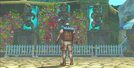 トロピカル風テーマ、門の近くの石像