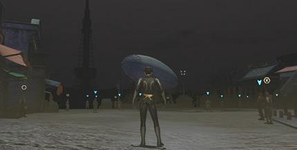 レトロ風基地テーマの夜景